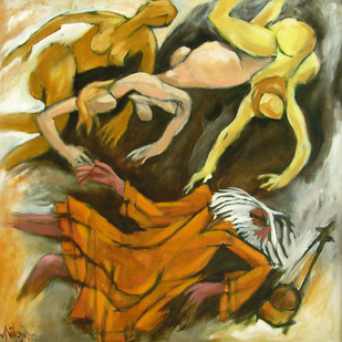 Falling Baul by Milon Mukherjee, Conceptual , Oil on Canvas, Brown color
