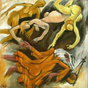Falling Baul by Milon Mukherjee, Conceptual , Oil on Canvas, Brown color