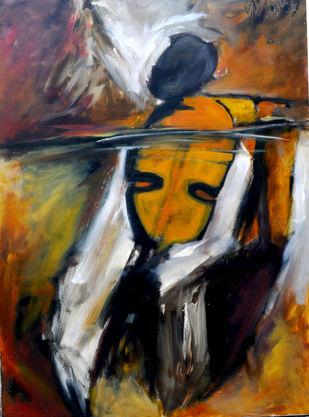 Towards Crescendo by Milon Mukherjee, Conceptual , Oil on Canvas, Brown color