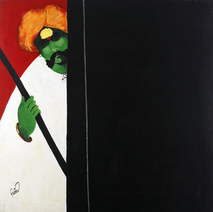 Dhangar by Raosaheb Gurav, Traditional Painting, Acrylic on Canvas, Black color