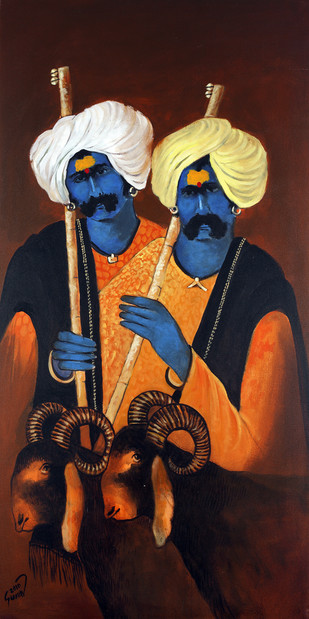Two Shepherd's by Raosaheb Gurav, Traditional Painting, Acrylic on Canvas, Brown color