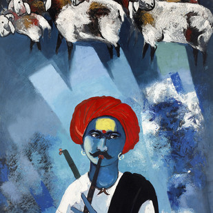 Dhangar by Raosaheb Gurav, Traditional Painting, Acrylic on Canvas, Blue color