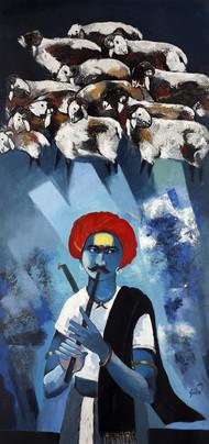 Dhangar by Raosaheb Gurav, Traditional Painting, Acrylic on Canvas, Blue color