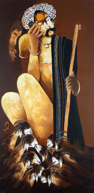 Shepherd on Mobile by Raosaheb Gurav, Traditional Painting, Acrylic on Canvas, Brown color