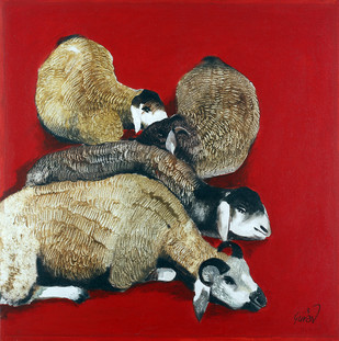 Dhangar's Goats by Raosaheb Gurav, Traditional Painting, Oil on Canvas, Red color