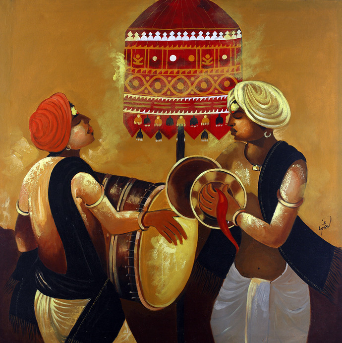Dhangar by Raosaheb Gurav, Traditional Painting, Acrylic on Canvas, Brown color