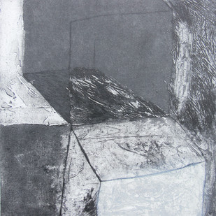 Complexity by Ruchi Shah, Geometrical Printmaking, Intaglio on Paper, Gray color