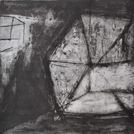 Within by Ruchi Shah, Geometrical Printmaking, Intaglio on Paper, Gray color
