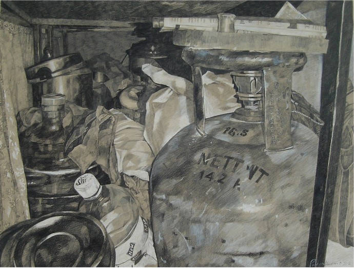 Still Life 1 by Pavan Kumar D, Conceptual Painting, Mixed Media on Paper, Gray color