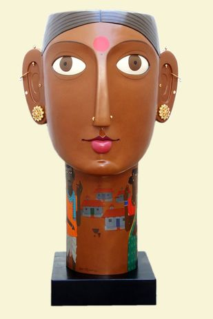 Untitled by Kandi Narsimlu, Traditional Sculpture | 3D, Fiber Glass, Beige color