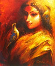 Dream Bird by Tapas Sardar, Expressionism Painting, Acrylic on Canvas, Brown color