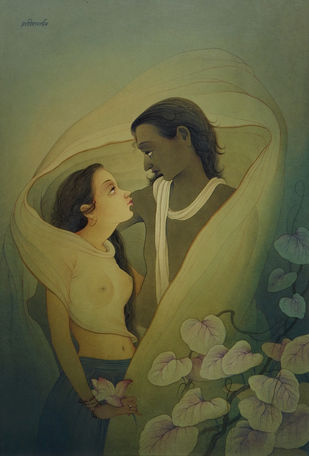Romantic Love by Rajib Gain, Realism Painting, Watercolor Wash on Paper, Green color