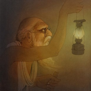 Old man at Night by Rajib Gain, Realism Painting, Watercolor Wash on Paper, Brown color