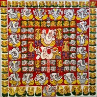 108 Ganapathi by Jayshree P Malimath, Traditional Painting, Acrylic on Canvas, Brown color