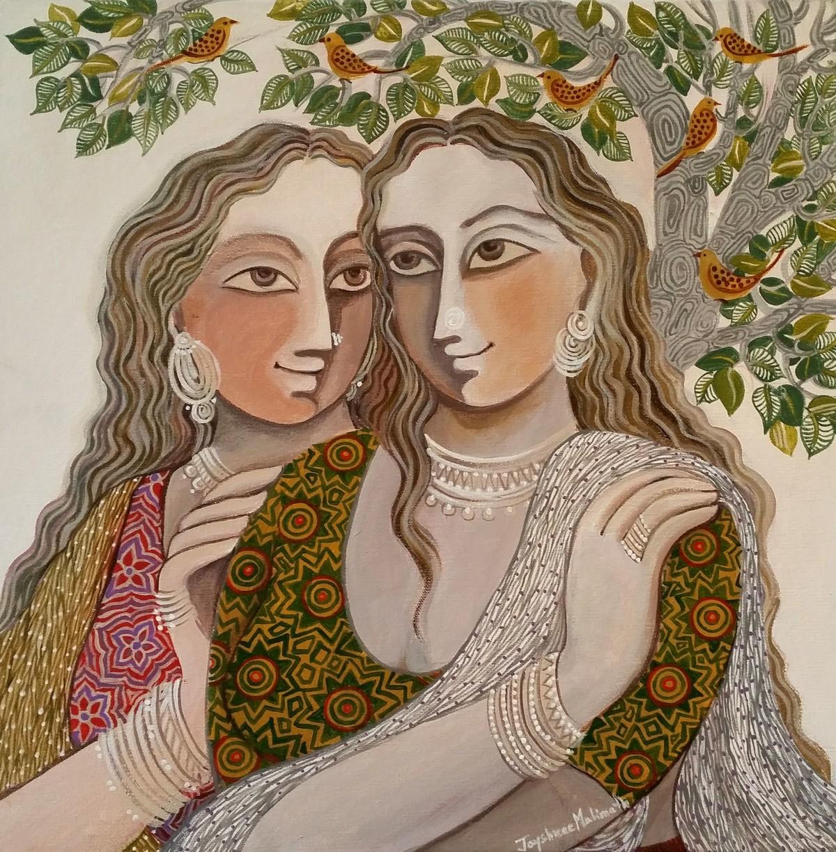 Sakhiya 02 by Jayshree P Malimath, Traditional Painting, Acrylic on Canvas, Brown color