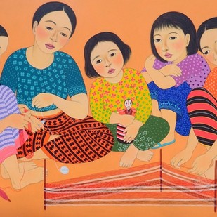 Traditional Weaving by Meena Laishram, Decorative Painting, Acrylic on Canvas, Brown color