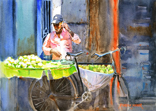 Mobile Business by Ramesh Jhawar, Impressionism Painting, Watercolor on Paper, Brown color