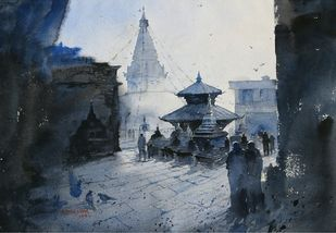 Nepal by Rupesh Suresh Sonar, Impressionism Painting, Watercolor on Paper, Blue color