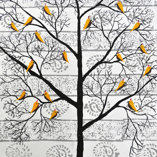 Parvar by Sumit Mehndiratta, Decorative Painting, Acrylic on Paper, Gray color