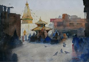 Nepal by Rupesh Suresh Sonar, Impressionism Painting, Watercolor on Paper, Gray color