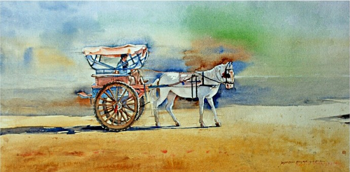 Old Ride by Rupesh Suresh Sonar, Impressionism Painting, Watercolor on Paper, Beige color