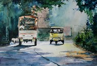 Journey by Rupesh Suresh Sonar, Impressionism Painting, Watercolor on Paper, Green color