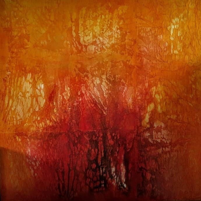 Untitled by Madhuri Kathe, Abstract Painting, Mixed Media on Canvas, Brown color