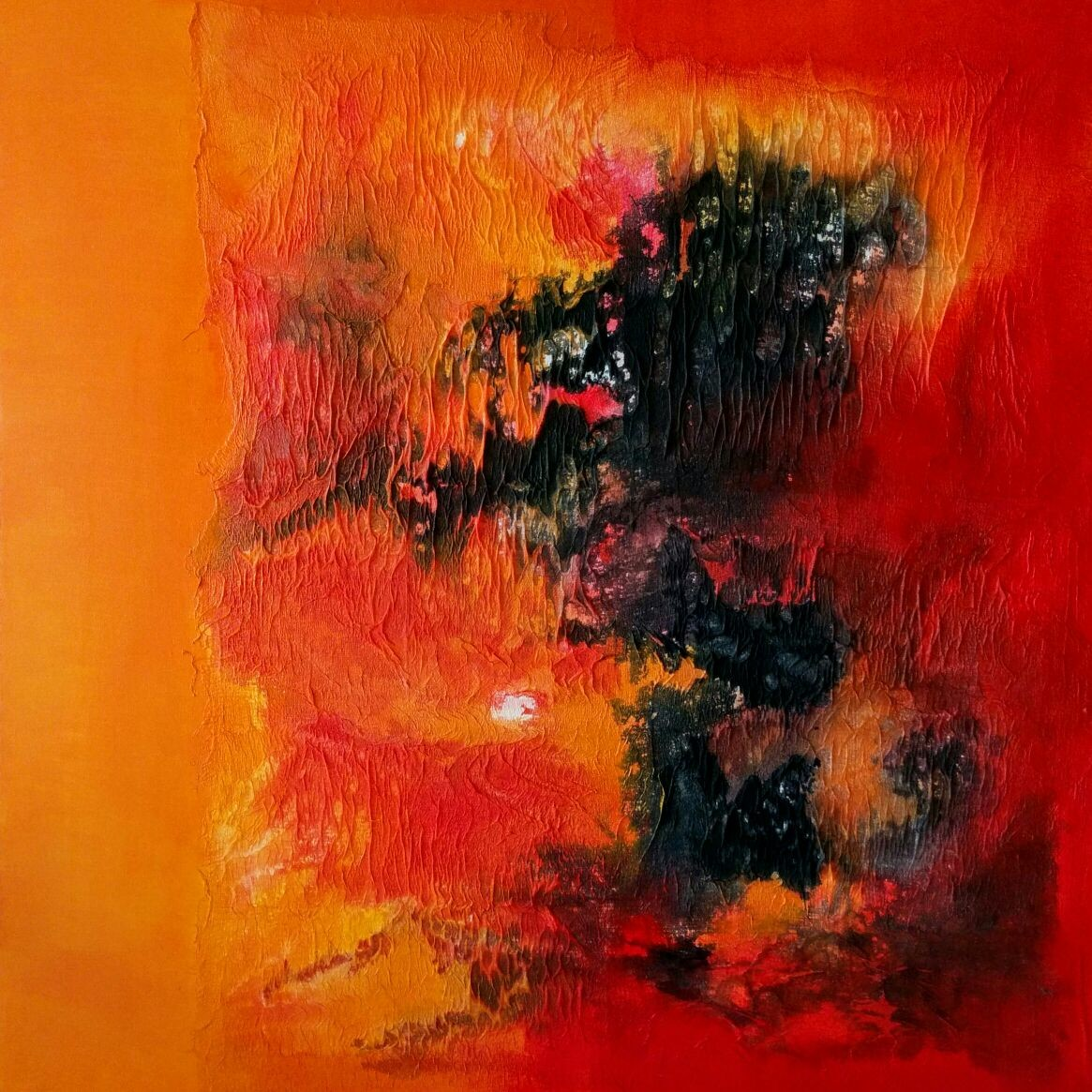 Untitled by Madhuri Kathe, Abstract Painting, Mixed Media on Canvas, Orange color