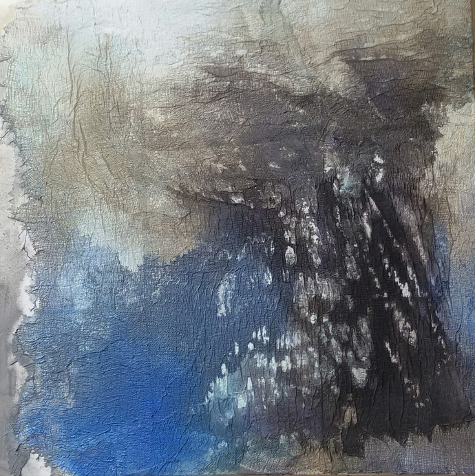 Untitled by Madhuri Kathe, Abstract Painting, Mixed Media on Canvas, Gray color
