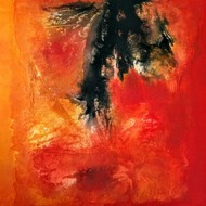 Untitled by Madhuri Kathe, Abstract Painting, Mixed Media on Canvas, Red color