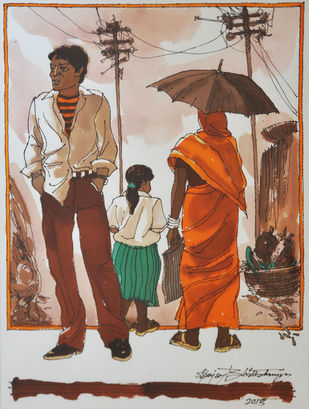 Untitled 3 by Sanjay Bhattacharya, Illustration Painting, Watercolor on Paper, Brown color