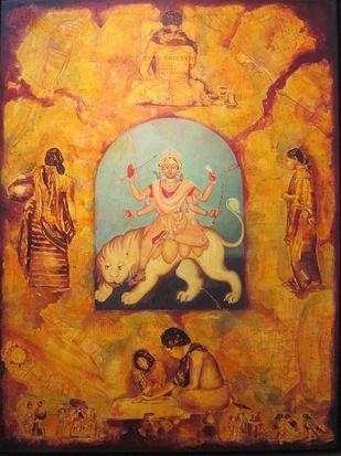 Devi by Aditya Basak, Conceptual Painting, Acrylic on Canvas, Brown color