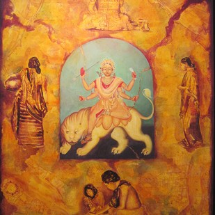 Devi by Aditya Basak, Conceptual Painting, Acrylic on Canvas, Brown color