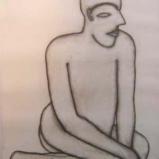 Untitle 8 by Jogen Chowdhury, Illustration Drawing, Charcoal on Paper, Brown color