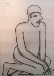 Untitled 8 by Jogen Chowdhury, Illustration Drawing, Charcoal on Paper, Brown color