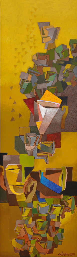 Untitled 10 by Niren Sengupta, Cubism Painting, Acrylic on Canvas, Brown color
