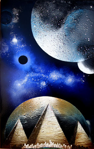 Cosmic Energy KL6 by Lomror Kana, Surrealism Painting, Vitreous Enamels on Metal, Blue color
