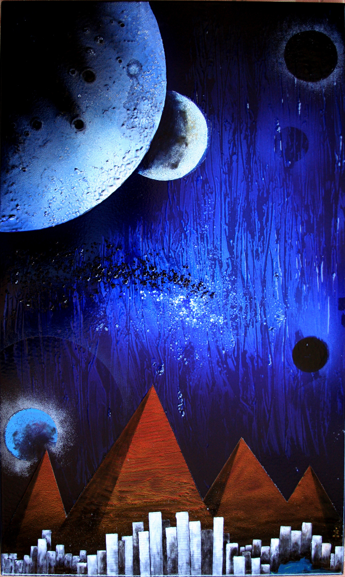 Cosmic Energy KL5 by Lomror Kana, Surrealism Painting, Vitreous Enamels on Metal, Blue color