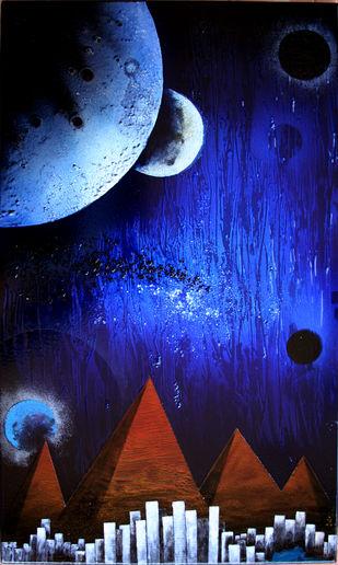 Cosmic Energy KL5 by Lomror Kana, Surrealism Painting, Vitreous Enamels on Metal, Blue color