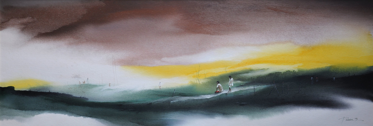 Untitled 11 by Bikas Poddar, Impressionism Painting, Watercolor on Paper, Brown color