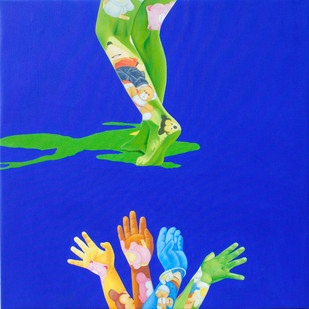 Sapno Ki Or l by Jitendra Saini, Pop Art Painting, Oil & Acrylic on Canvas, Blue color