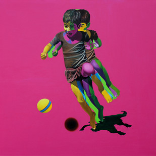 Khel by Jitendra Saini, Pop Art Painting, Oil & Acrylic on Canvas, Pink color
