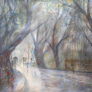 Rainy Season by Sunil Kale, Impressionism Painting, Mixed Media on Paper, Gray color