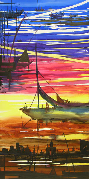 Ocean Moods 2 by Sunil Kale, Impressionism Painting, Watercolor on Paper, Brown color