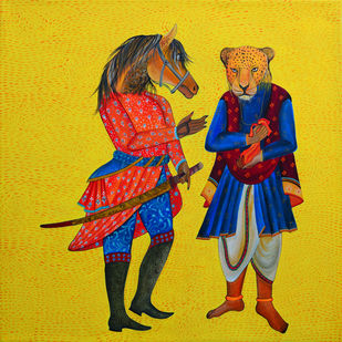 The Deal by Pragati Sharma Mohanty, Decorative Painting, Acrylic on Canvas, Yellow color