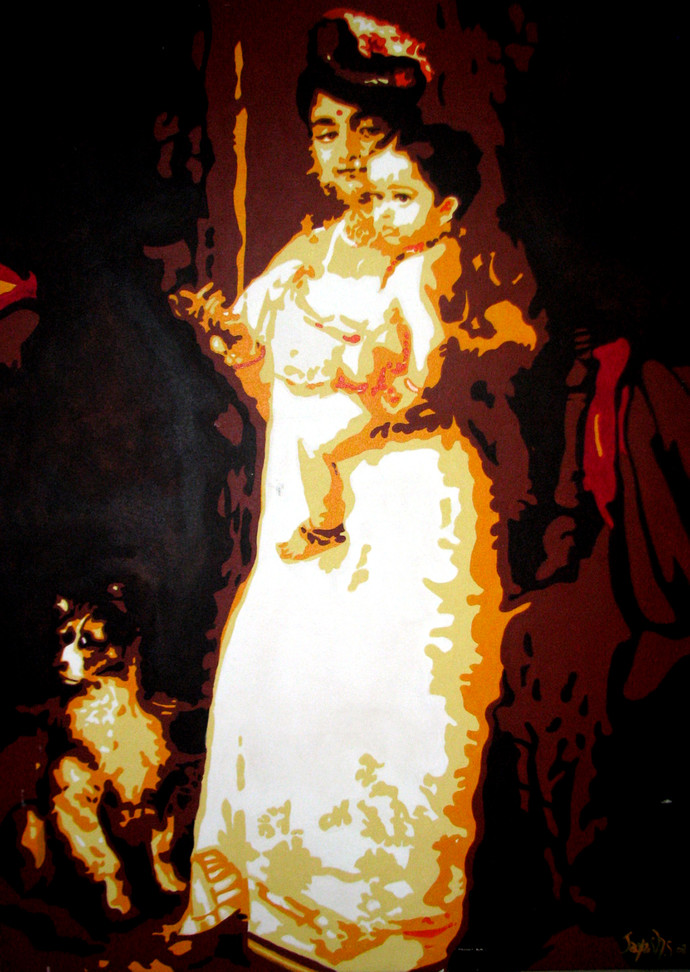 Mother and Child (Raja Ravi Verma Re-Invented in Pop) by Jayesh Sachdev, Pop Art Painting, Acrylic on Canvas, Brown color