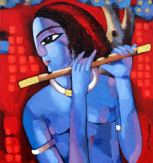 Krishna by Sekhar Roy, Decorative Painting, Acrylic on Canvas, Blue color
