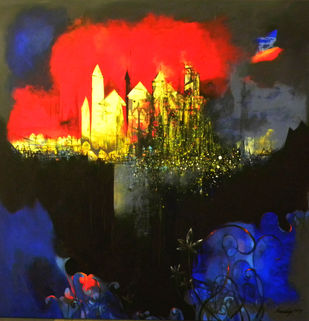 Untitled by Pradip Sengupta, Decorative Painting, Acrylic on Canvas, Blue color