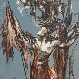 The Warrior by Shardul Kadam, Decorative Painting, Mixed Media on Canvas, Brown color