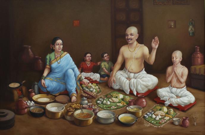 Feast in Brahmin Family Digital Print by Shardul Kadam,Realism